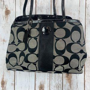 Coach Signature Stripe Carryall Purse Handbag